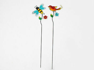 12 garden décor bee and bird only with flower grden stake 2 asst 50x1x18.5cm bu