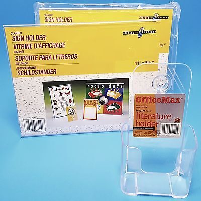Slanted Desk Sign & Literature Holders Plastic Clear (2) Piece