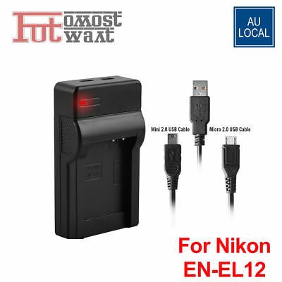 USB Charger for Nikon EN-EL12 Coolpix AW100 AW110 S1200 S710 S100 S610c Camera