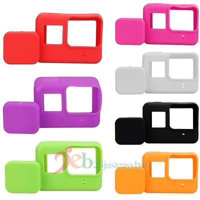 7 Colors Lens Cap Cover + Soft Silicone Housing Case Protector for Gopro Hero 5