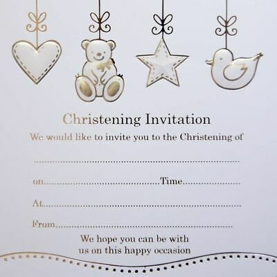 Pack of 10 Quality Silver Foiled Baby Christening Invitations New Born Invites