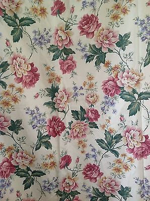 Vintage Curtains/Fabric-Pair-VGC-100% Cotton-Floral-Country Cottage-Chintz #1