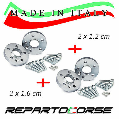 REPARTOCORSE WHEEL SPACERS KIT (2 x 12mm + 2 x 16mm) for FIAT 500 / 595 ABARTH