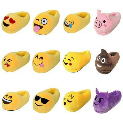 New Emoji Plush Stuffed Unisex Slippers Cartoon Winter Warm Home Fluffy Shoes B9