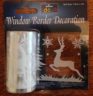 2m Reindeer Window Border Cling Xmas Sticker Tree Vintage Christmas Decorations