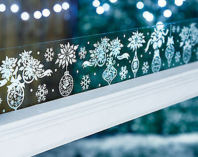 2m Long Baubles Window Border Cling Sticker Snow Vintage Christmas Decoration