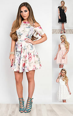 Women's Ladies Stunning Floral Glam Celeb Party Prom Skater Dress