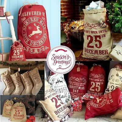 Christmas Hessian Sacks Stockings Vintage Design Large Jute