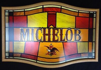 Vintage 1988 Michelob Anheuser Beer Busch Lighted Stained Glass Look Sign Bar