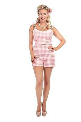 Collectif Vintage Jayne Pastel Gingham Playsuit