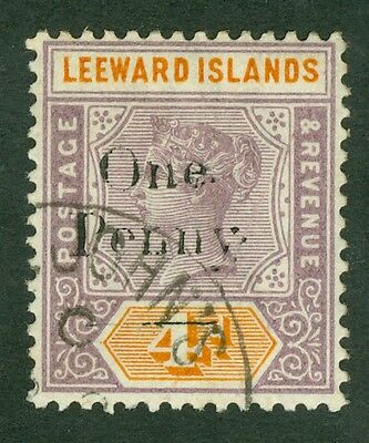 SG 17 Leeward Islands 1d on 4d. A very fine used CDS example