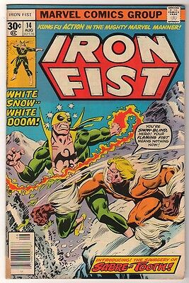 Marvel Comics IRON FIST  #14 1976 1st Appearance SABRETOOTH  X MEN SABRE-TOOTH