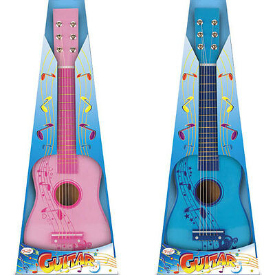 New 23inch Wooden Childrens Guitar Musical Instrument Kids Toy - Blue or Pink