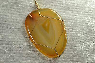 Carnelian Stone Hand wire wrapped healing sacral chakra reiki crystal pendant