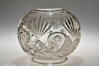 c. 1900 STARRED SCROLL by Unknown CRYSTAL Rose  Bowl