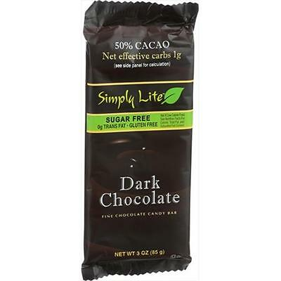 Simply Lite 3 Ounce 50 Percent Cacao Chocolate Bar Dark Chocolate, Case Of 10