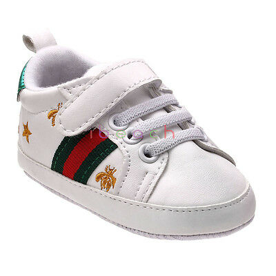 Infant Baby Boy Girl White Faux Leather Soft Sole Pram Shoes 3 6 9 12 Months