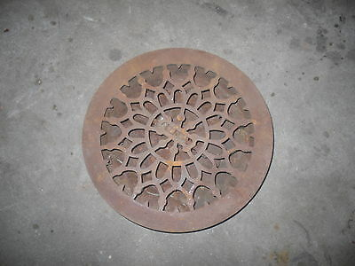 """Industrial decor antique cast iron round floor grate vent with louvers 10"""" +"""