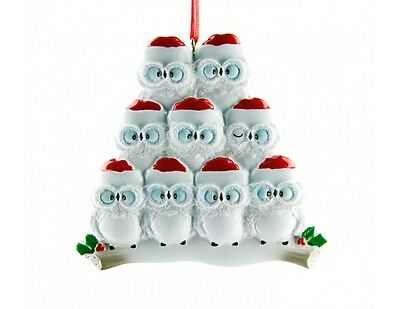 Personalised Christmas Decorations Owl Family of 9