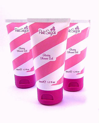 Pink Sugar for Women by Aquolina Glossy Shower Gel 1.7 oz - Pack of 3