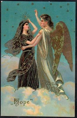 """Vintage Embossed Postcard - Angel with Wings & Maiden Holding a Dove - """" Hope """""""