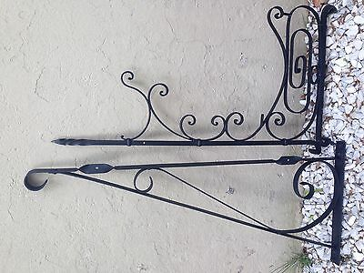 """Antique Wall Iron Sign Bracket Flower hunger 33"""" x 17"""" 35"""" x 14"""" Solid Heavy"""