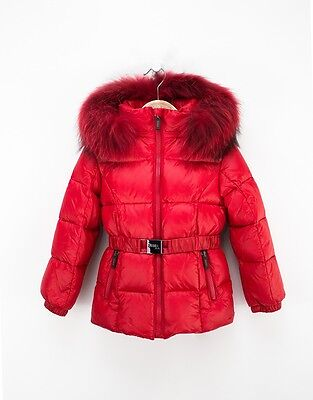 Red Winter Down Jacket For Girls With Belt And Fur Hood by Jums