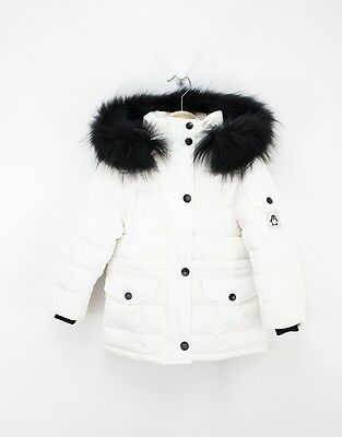 Kids White Winter Jacket With Fur Hood And Down Filling For Girls by Jums