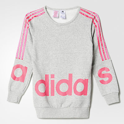 Size 5-6 Years Old - Adidas Originals 3 Stripes Large Text Sweatshirt - Grey