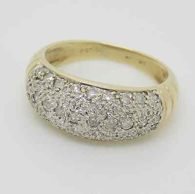 9ct Yellow Gold 3 Row Pave Set Diamond Band Ring - Size L