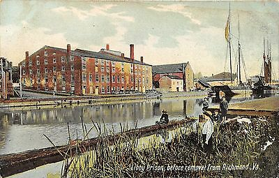 Richmond Virginia~Libby Prison before Removal~Boys on River's Edge~c1910 Pc