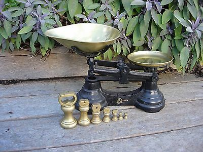 Vintage Black Librasco Kitchen Scales with 7 Brass Bell Weights (909)