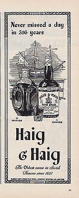 Haig and Haig Scotch Whisky Never Missed a Day in 316 Years Vintage 1943 Ad