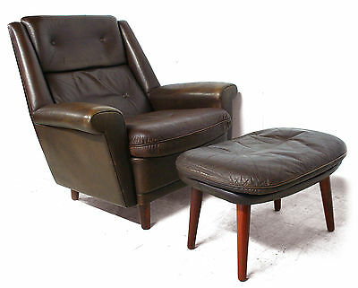 1950s retro vintage DANISH LEATHER ROSEWOOD HIGH BACK CLUB ARM CHAIR AND STOOL