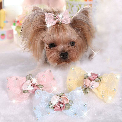 Bling Small Dog Hair Bows Clip Crystal Puppy Hairpin Lace Grooming Embroidery