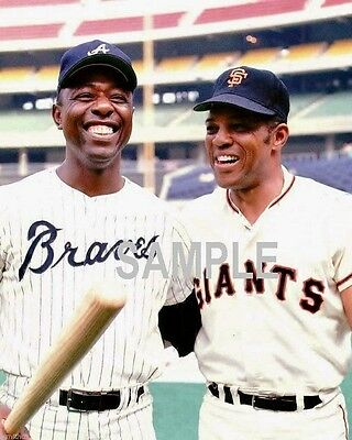 HANK AARON & WILLY MAYS Braves GIANTS Photo