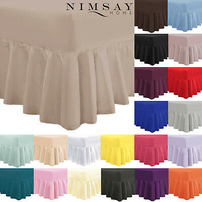 Plain Frilled Fitted Valance Sheet Cotton Blend Sheets Single Double Super King