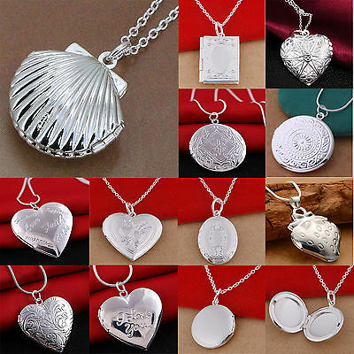 Women 925 Sterling Plated Locket Hollow Heart Book Photo Pendant Chain Necklace