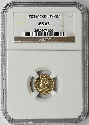 1903 McKinley - La Purchase Memorial Commemorative Gold Dollar $1 MS 62 NGC