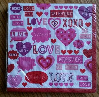 "20 ct 2 ply Paper Party Lunch Napkins 13"" ~ Valentines Day Hearts Love Be Mine"