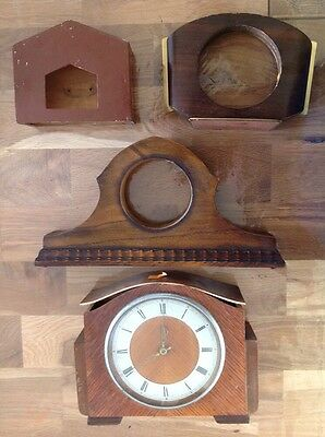 Selection Vintage Mantle Clock Cases Parts Repair Incl Smiths Electric Movement