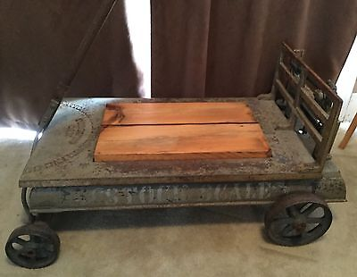Salvaged Antique Industrial Farm Stock Scale Coffee Table, Stenciled