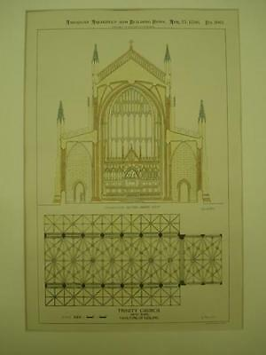 Vaulting of Ceiling, Trinity Church, New York, NY, 1896, Original Plan