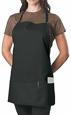 Black Adjustable Bib Apron - 3 Pocket - Stain Resistant - Waiter Waitress