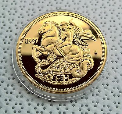 EDWARD VIII 1937 GOLD PLATED PROOF PATTERN CROWN St George & Dragon