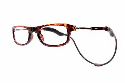Magnetic Reading Glasses by London Loopies Tortoise Shell Unisex with Case
