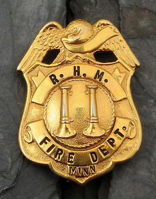 RARE Vintage R.H.M. Fire Department Chief Uniform Badge/Shield Minnesota MN