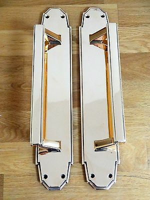 "2nd PAIR 15"" BRASS ART DECO DOOR PULL HANDLES (2 AVAILABLE) PLATES KNOBS PUSH"