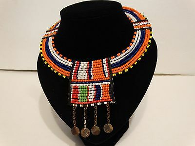 Vintage Collar Choker Necklace Jewelry handmade Multi Color Seed Bead Wire