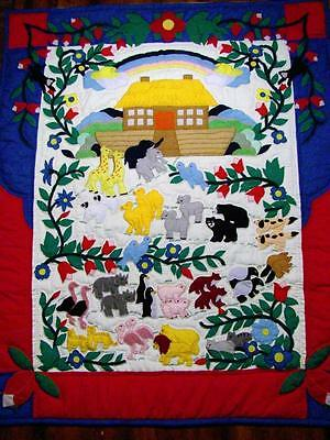 """Hand~Quilted """"noah's Ark"""" Appliquéd Baby Nursery Crib Quilt Wall Hanging 40""""x50"""""""